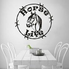 Horse Life Vinyl Wall Decal Horse Head Wall Sticker Home Living Room Decor Animals Logo Wall Window Poster Vinyl Wall Art AY1671