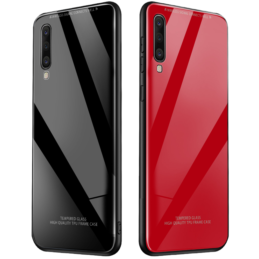 Luxury Tempered <font><b>Glass</b></font> <font><b>Case</b></font> For <font><b>Samsung</b></font> Galaxy A50 A30 A70 <font><b>A40</b></font> A60 A10 A7 A9 2018 S10 S8 S9 Plus S10e Silicone Frame Hard Cover image