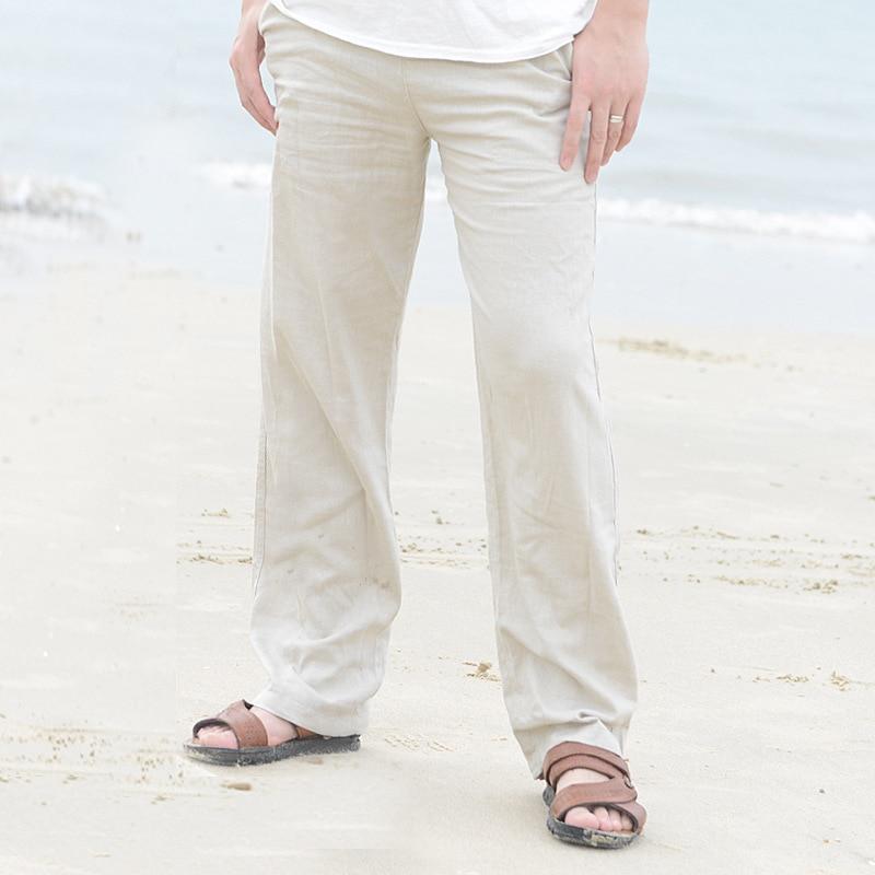 HTB1aOipikUmBKNjSZFOq6yb2XXaT 2019 Casual Pants for Men Cotton Linen Straight Trousers White Linen Elastic Waist Leisure Beach Man's Full Pants Plus Size