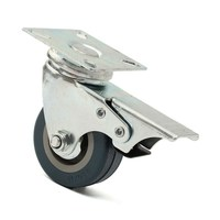 MTGATHER 4 X Heavy Duty 50mm Rubber Swivel Castor Wheels Trolley Furniture Caster Brake PVC Rubber