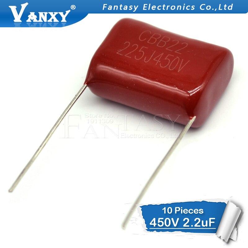 10pcs 450V 2.2uF  10pcs CBB Polypropylene Film Capacitor Pitch 20mm 225 2.2uF 450V