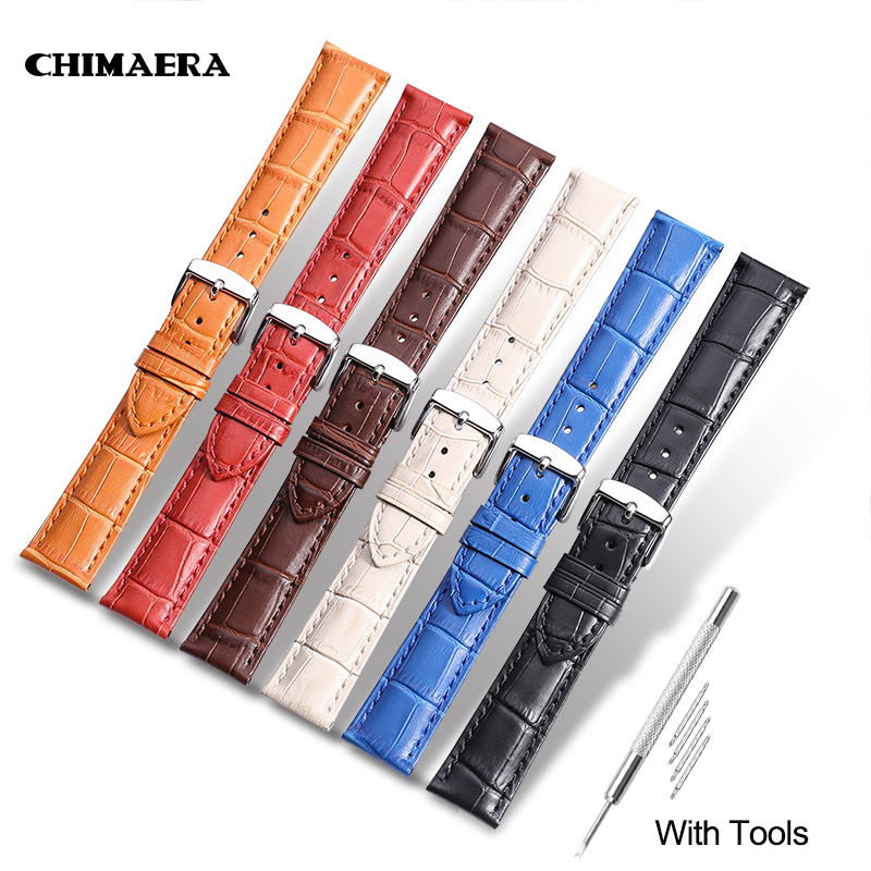CHIMAERA Crocodile Pattern Genuine Cow Leather Strap Watch Band for Hours Watchband 14 16 18 19 20 21 22 24 mm Watch Strap crocodile skin pattern cow leather wristwatch strap watchband black size 20l