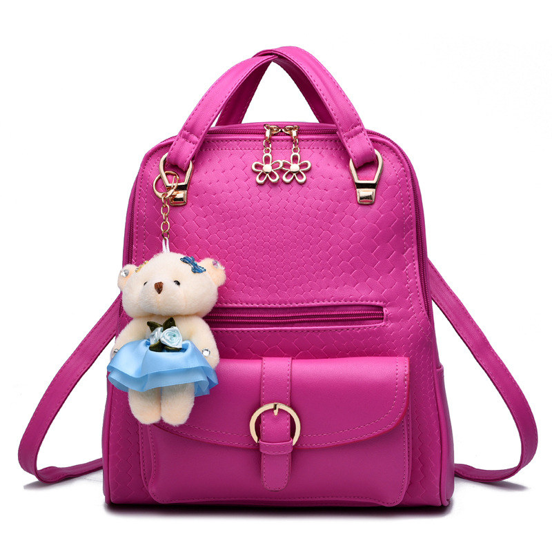 купить Elegant Fuchsia PU Casual Schoolbag High Quality Women's Backpacks Adjustable Straps Zipper Practical Handle недорого
