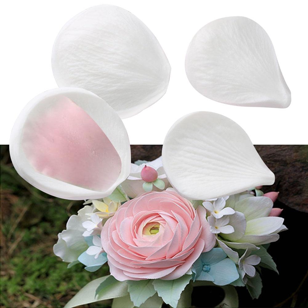 4PCS/Set Sugar Craft Petals Veiner Meridians Flower Simulation Baking Cake Mold Home Non Stick Silicone Heat Resistant Reusable