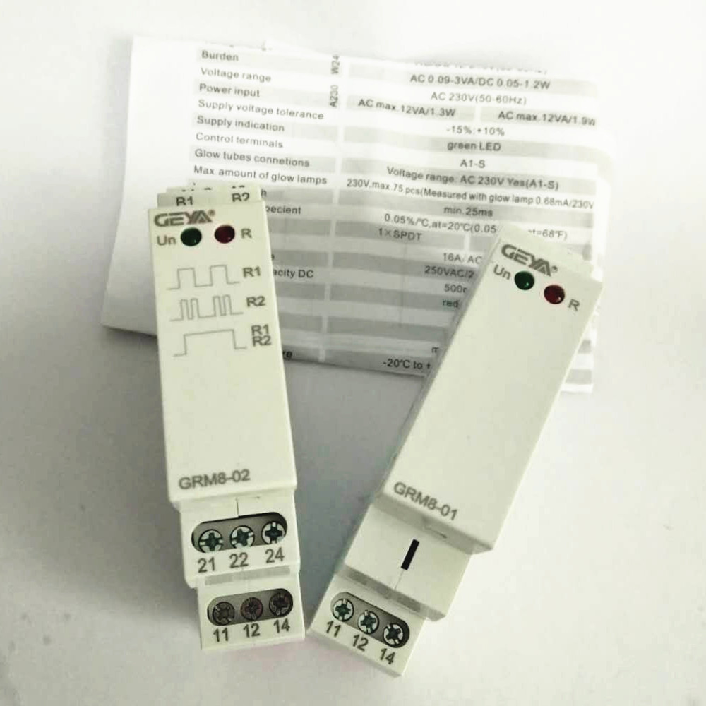 Din Rail SPDT Impluse Relay  GRM8 16A AC 230V AC/DC12-240V Electronic Latching Memory Relay With CE Certificate