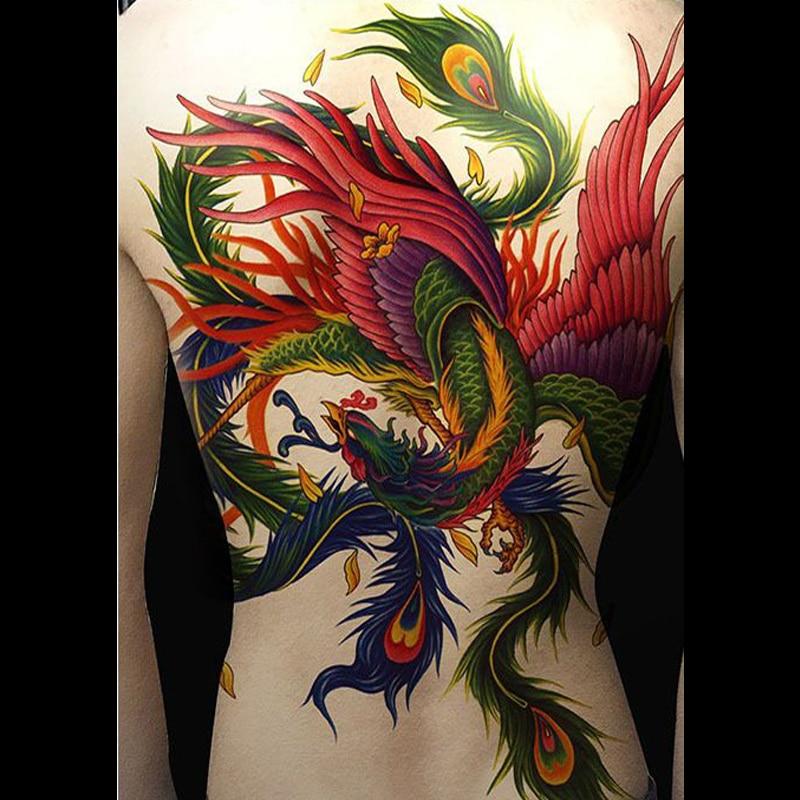 High Quality Super Large Fake Tattoo On Full Chest Back Temporary Tattoos Waterproof Phoenix Bird Carp Dragon Colored Big Tattoo