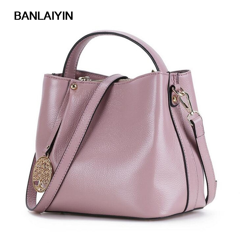 Nice New Women Handbag Genuine Leather Shoulder Bag Cowhide Ladies Casual Shopping Bag Large Capacity Tote Bucket Messenger Bag 2018 new women bag ladies shoulder bag high quality pu leather ladies handbag large capacity tote big female shopping bag ll491