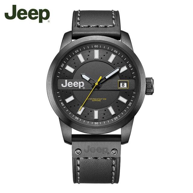 625940a35d2 Jeep Original Men Watch Outdoor Waterproof Watches Leather Band Mens Quartz  Wristwatches Relogio Masculino JPW63602