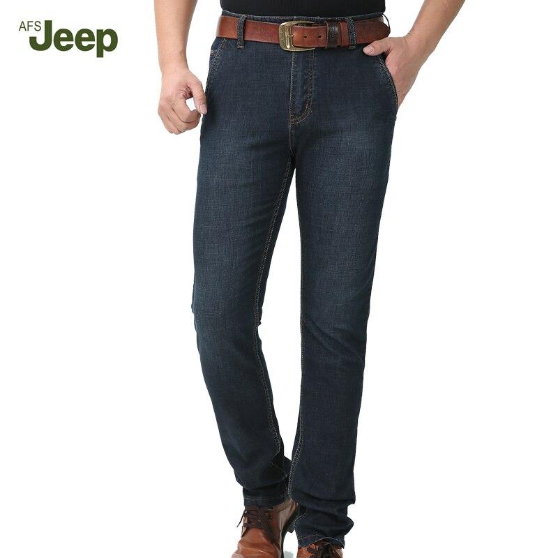 ФОТО AFS JEEP Brand Jeans 2017 Spring Autumn Fashion Casual Jeans Men Long Pants Soft Denim Straight Fit Pants Cotton Jeans 75
