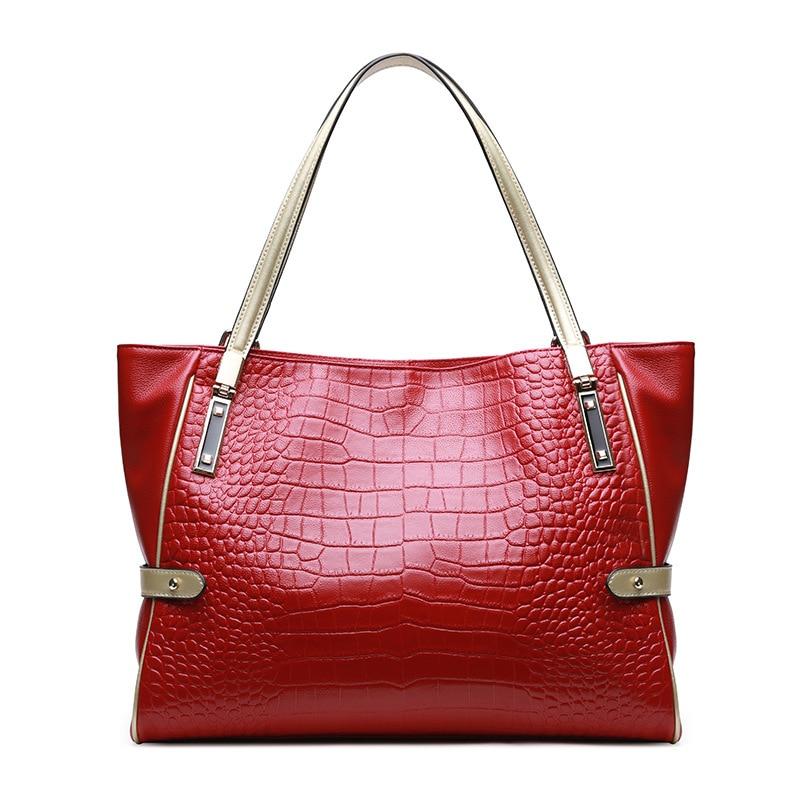 luxurious crocodile pattern shoulder bag 100% cow leather handbag brand new 2018 women genuine leather bolsa feminina oil wax cow leather handbag brand 2018 bolsa feminina new women 100