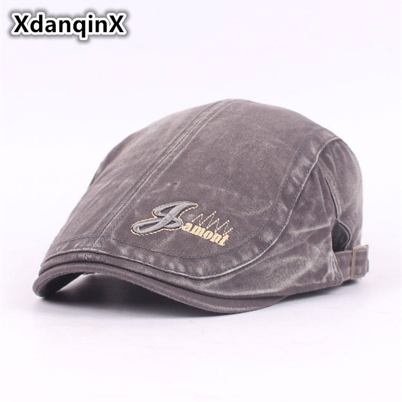 58d67406 XdanqinX Adjustable Size Washed Cotton Berets Men's Hat Fashion Couple Duck  Tongue Cap Male Bone Brand Hats Dad Hat Unisex