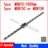 15mm Linear Guide MGN15 L=1000mm linear rail way + MGN15C or MGN15H Long linear carriage for CNC X Y Z Axis