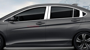 Stainless Steel Top+Bottom Full Window Frame Sill Trims 24pcs For Honda City 2014 2015 2016