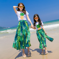 Summer Casual Family Matching Clothing Set Short Sleeve T Shirt + Skirt 2pcs Holiday Mother And Daughter Beach Clothes Set