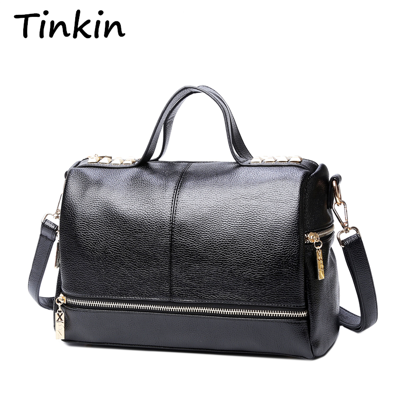 Tinkin New Arrival Femal Handbag Retro Motorcycle Messenger Bag Rivet Կաշվե Laptop Tote Bag Կանանց ուսի պայուսակ