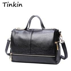Tinkin nova chegada femal bolsa retro motocicleta saco do mensageiro rebite couro portátil bolsa de ombro das mulheres