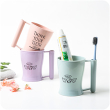 Cartoon Couple Toothbrush Cup with Handle Plastic Bathroom Mouthwash Travel Holder Home Accessories
