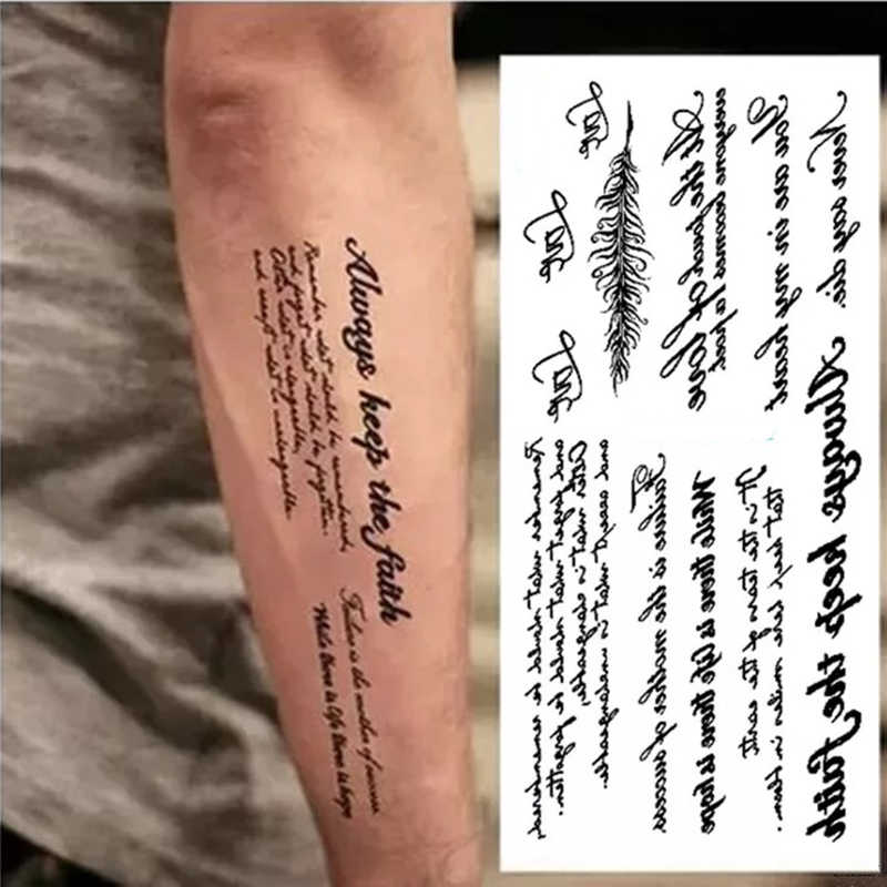 Black Words Temporary Tattoo Sticker Letter Art Waterproof Tattoo Paste Removable Tatoo Body Arm