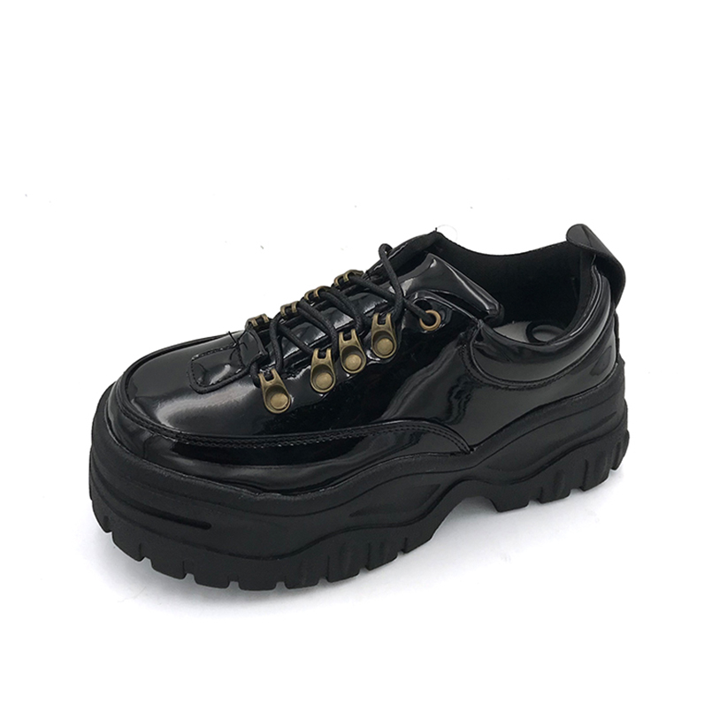 Fidanei New Black Patent Leather-based Girls Sneakers Platform Footwear Girl Creepers Feminine Informal Flats Tenis Feminino Espadrilles