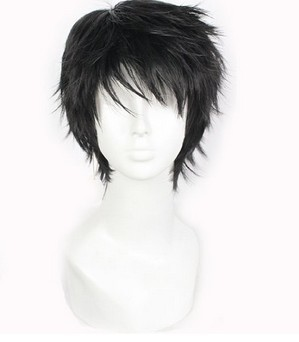 men fashion cosplay wig anime black male short straight