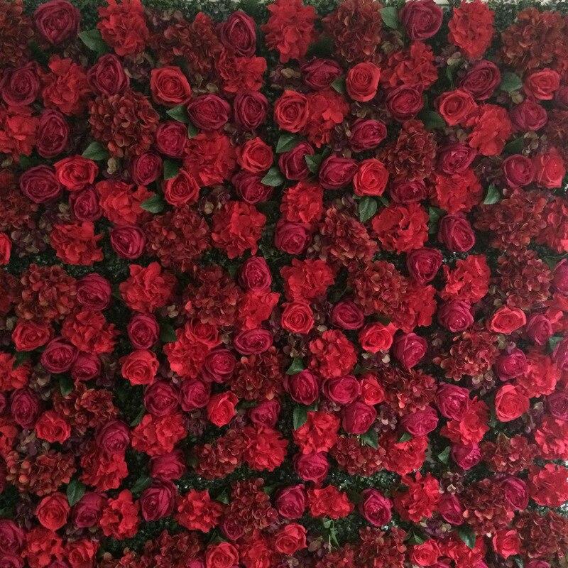 8ft x 8ft Высочайшее качество роскошный горячий красный цветок фон Свадебный цветок стены Искусственный розы с гортензией оформление сцены