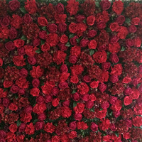 8ft x 8ft Top quality Luxury Hot Red Flower backdrop Wedding Flower Wall Artifical roses with Hydrangea Stage Decoration