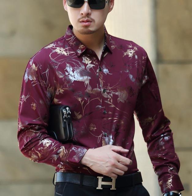 Men S Luxury Long Sleeve Dress Shirt Men Fashion Burgundy Red Floral