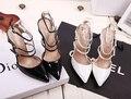 2017 Nuevo Estilo de Verano de las mujeres zapatos de tacón alto En Punta Vendaje Lace Up Stiletto zapatos Bombas sandalias de las señoras de la celebridad Negro blanco