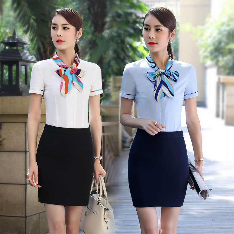 Plus Size 3XL Professional Summer Short Sleeve Work Wear Skirt Suits With Tops And Skirt For Ladies Office Clothing Sets