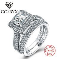 CC&BYX S925 sterling-silver-jewelry midi rings for women retro style steel women wedding engagement ring white anillos CCS048