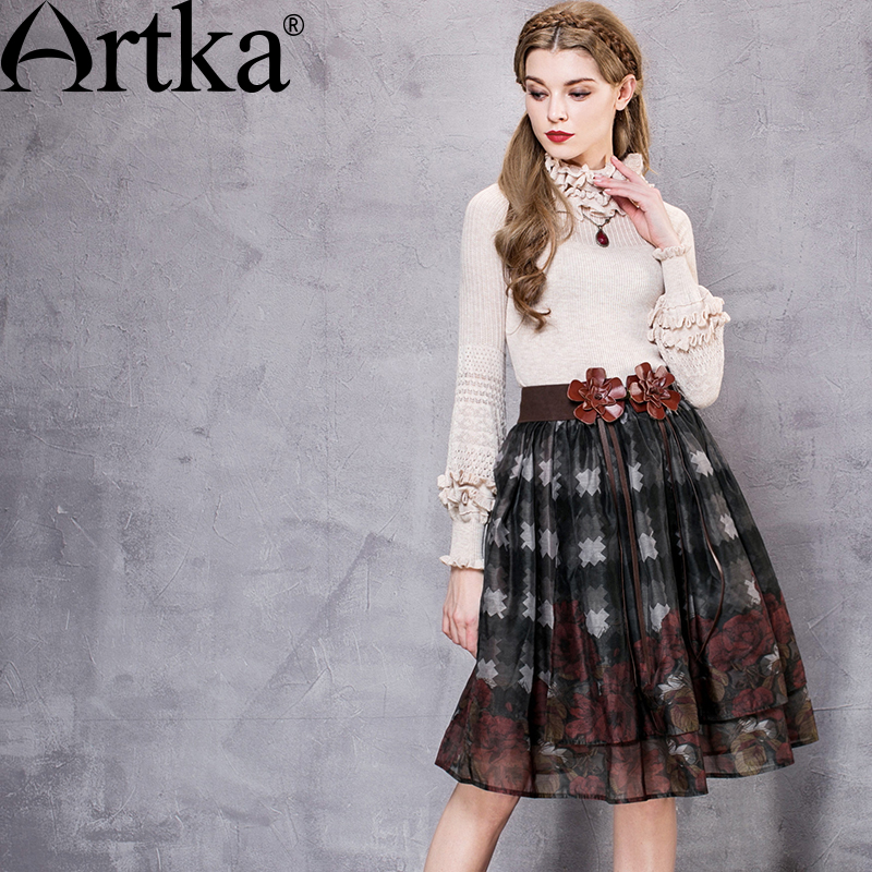 Artka Womens Summer New Printed Organza Skirt Vintage Elastic Waist Drapped Asymmetrical Hem All-match Skirt QA10563Q