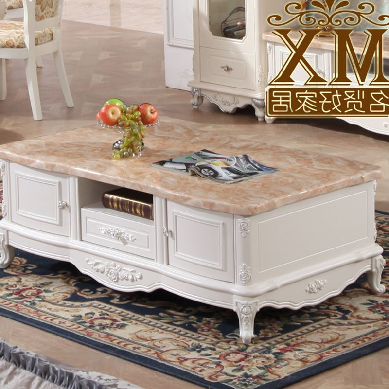European Solid Wood Coffee Table Marble Living Room Tv Cabinet Combination Of French Furniture