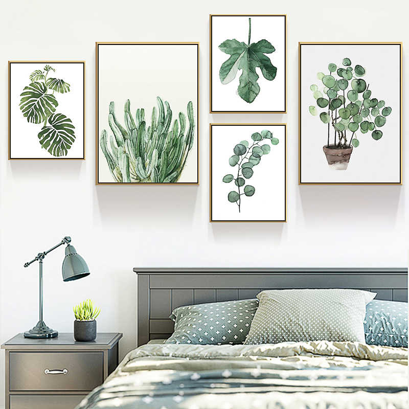 Modern Gray Plant Leaf Wall Art Style Painting Nordic Canvas Picture Bedroom Kitchen Wall Painting Home Decor Posters And Prints