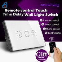 US Standard 1000W High Power Touch Remote Control Delay Auto Off Light Switch Tempered Glass Wall