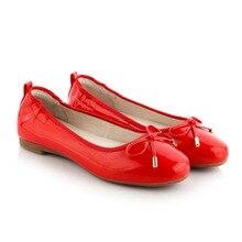 2018 rot Größe 4 34 Designer Low Heels Elegante Medium Wein Bogen Weiß Keil  Schuhe Casual Nette Patent Leder Schuhe runde Kappe 392f86b2da