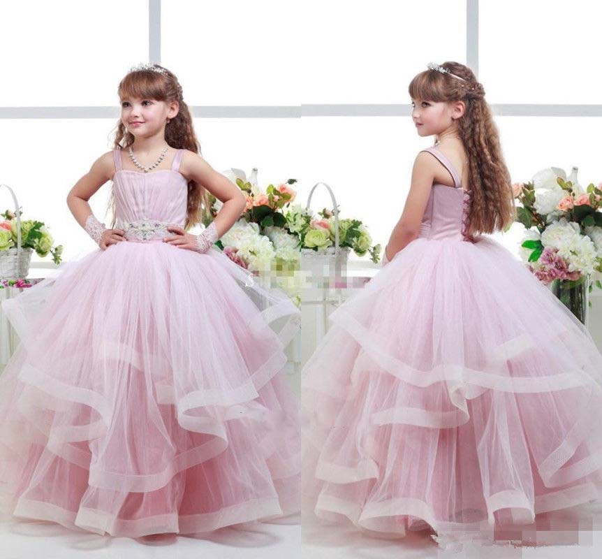 Spaghetti straps blush pink sweetheart flower girl dresses ball gown ruffes little princess holy the first communion gownsSpaghetti straps blush pink sweetheart flower girl dresses ball gown ruffes little princess holy the first communion gowns