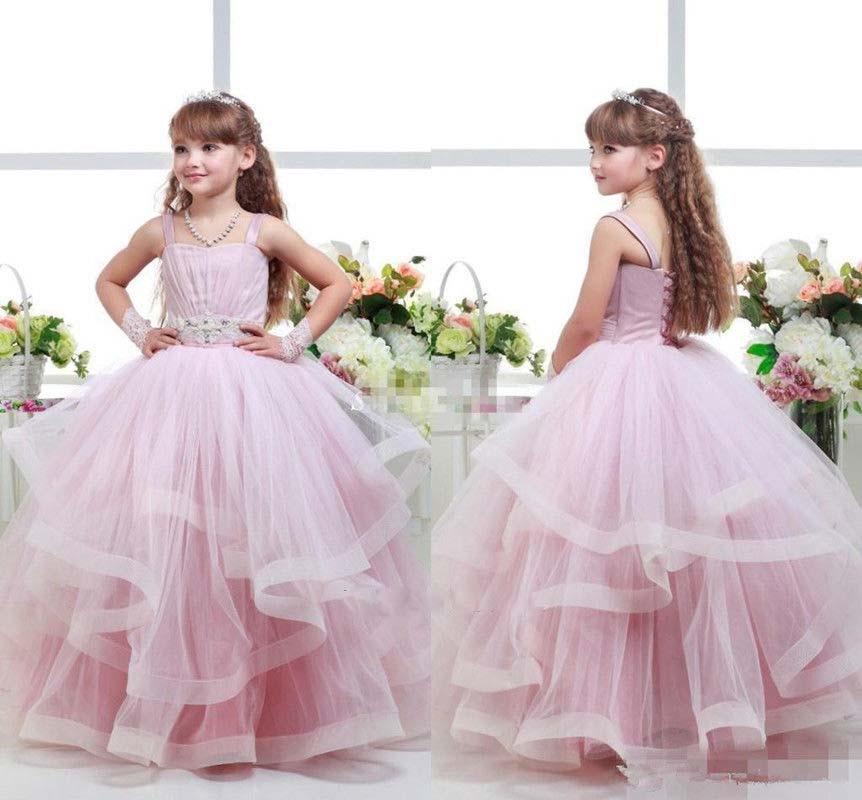 Здесь продается  Spaghetti straps blush pink sweetheart flower girl dresses ball gown ruffes little princess holy the first communion gowns  Детские товары