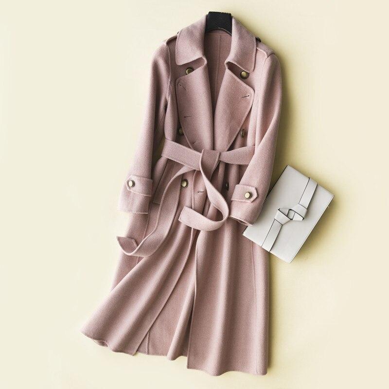 My1936 Frauen Doppelseite Winter Weibliche Koreanische BeigeRosaKamel Jacken Jacke Herbst Rosa Handgefertigte 100Wollmantel 8OXnwkP0