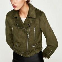 2018 Mới Mùa Thu Đông Phụ Nữ Mềm Suede Faux Leather Áo Jacket và Áo Khoác Lady Matte Dễ Thương Dây Khóa Kéo Belt Dark Xanh Quần Áo Thể Thao