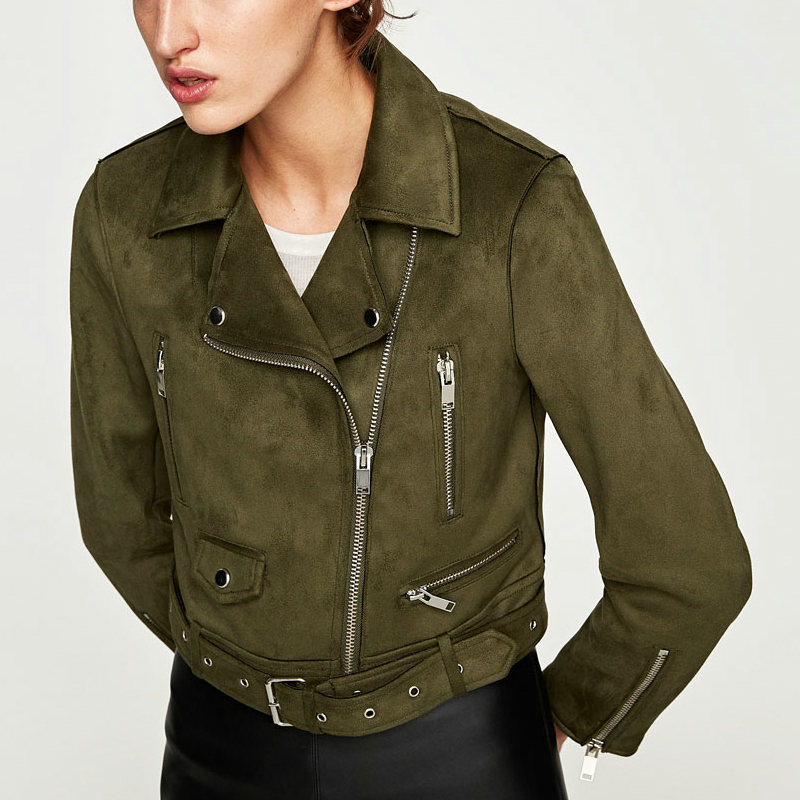 2018 New Autumn Winter Women Soft   Suede   Faux   Leather   Jackets and Coats Lady Matte Cute Zippers Belt Dark Green Outerwear