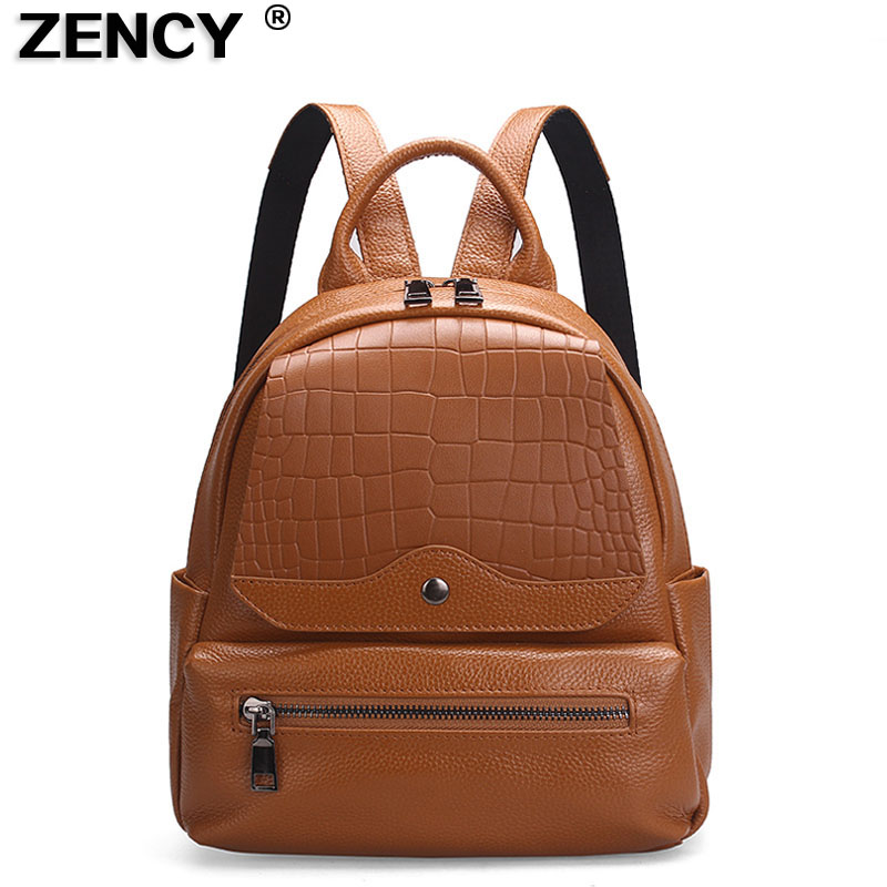 ZENCY Real Leather Backpack Stone Pattern Soft Genuine Leather Women Backpacks Ladies Girl's Bags Top Layer Cowhide Bag Mochila zency genuine leather backpacks female girls women backpack top layer cowhide school bag gray black pink purple black color