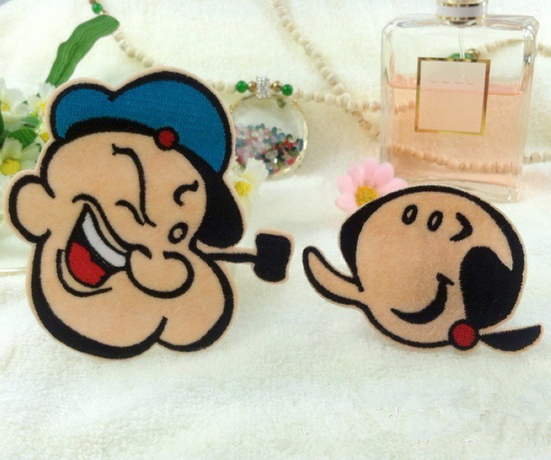 cartoon series Popeye the sailor man Embroidery Iron On Sew Patches DIY Label Badge Biker Patches For Clothes Armband Applique