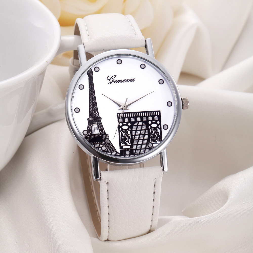 2018 New clock Women's watches Women Eiffel Tower Dial Leather Band Analog Quartz Wrist Watch Watches relogio feminino Lady newly design watch women girl diamond analog leather band quartz wrist watches watches clock relogio feminino best gift