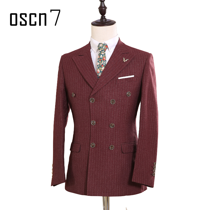 OSCN7 Double Breasted Custom Made Suit Wine Red Striped Wedding Dress Suits for Men Event Formal Tailor Made Suit Men