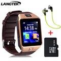 Langtek smart watch dz10 para apple suporte por telefone android cartão sim smartwatch reloj inteligente pk gt08 wearable inteligente eletrônico