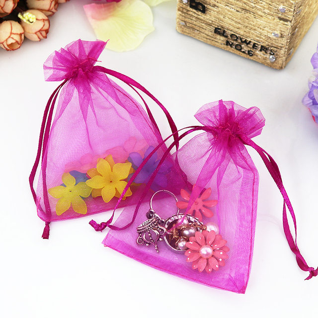 1000pcs Lot 9x12cm Hot Pink Color Organza Bags Christmas Wedding Favor Gift Tulle Jewelry
