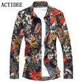 2017 New Brand ACTIDEE men shirts high quality plus size 3XL 4XL 5XL 6XL 7XL floral shirts men fashion flower print shirts