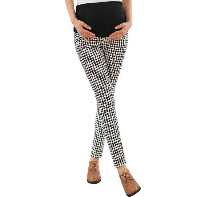 12da2a195 Pantalones a cuadros de cintura alta para mujeres embarazadas ropa  maternidad elástico Abdominal embarazo pantalones Prop