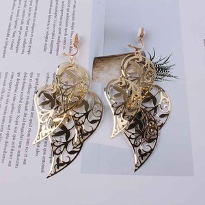 Gold Silver Color Long Leaf Clip on Earrings Without Piercing for women Wedding Bridal Party Luxury Vintage Leaf Earring Jewelry