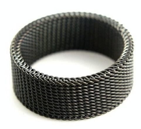 Ücretsiz Kargo 8mm Geniş Siyah Kadınlar Için 316L Titanyum Çelik Yüzük Alyans Siyah Örgü Serin Paslanmaz Çelik Güzel takı